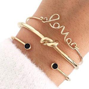 Jewelry - 3 bracelets 🖤 love gold knot black bangles